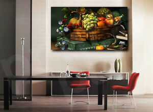 Fruit Apples Many Wicker basket Food 4.3 Wall Art Canvas Picture Print