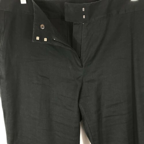 J Jill Pants Women/'s Size 16 Black Linen Cotton Blend Casual Straight Leg