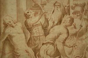 Altmeister-Zeichnung-Roetel-Sanguine-1650-Flagelation-Christ-Italy-Old-Master