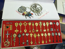 newest 30pcs Fairy Tail Lucy Cosplay Keys & Pendant Necklace Keychain +box gsv