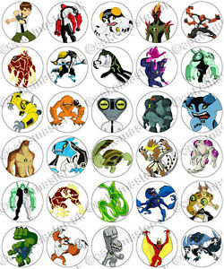 Details about 30 x Ben 10 Aliens Birthday Collection Edible Rice Wafer  Paper Cupcake Toppers