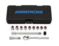 Armstrong Socket Set 1/4 Drive 13 Pc Eliminator Ratchet Sae Chrome Usa 16-118