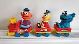 Vintage-TYCO-Preschool-Sesame-Street-Wind-Up-Train-Bert-Ernie-Cookie-Monster