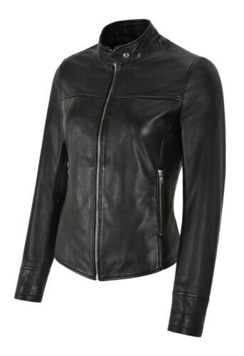 Femmes Veste en cuir fin noir Véritable Cuir D/'agneau Court Rock Tops Racer Jacket 1119