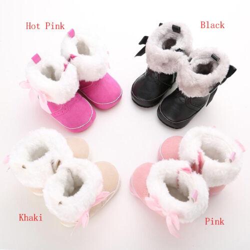 Infant Baby Girl Mignon Noeud Bottes de neige Berceau Chaussures bébé en Polaire Chaude Bottes