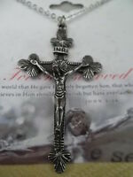Catholic Christian Crucifix Jesus On Cross 18 Necklace Antique Silver Plate