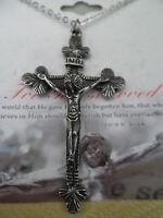 Catholic Christian Crucifix Jesus On Cross 18 Necklace Antique Silver Plate