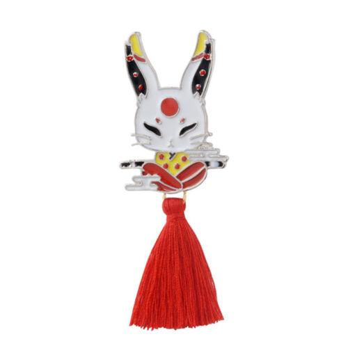 Cute Kitsune Japanese Deer Rabbit Snake Kabuki Red Tassel Brooch Badge Lapel Pin