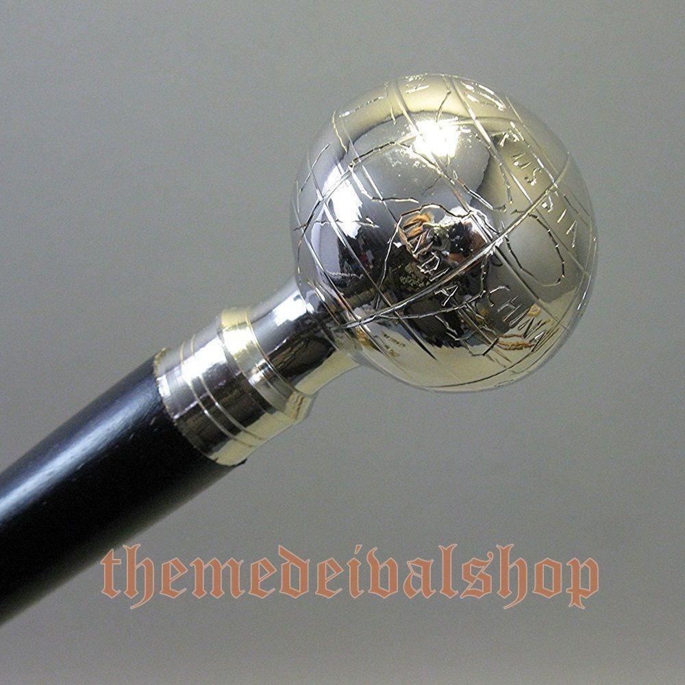 Antique Brass Globe Walking Stick Solid Cane black wooden handmade vintage gift