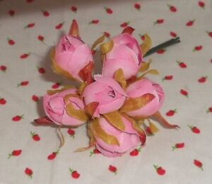 PINK millinery Vintage style 6 silk ROSE BUD fabric flowers ALEXANDER dolls HTF