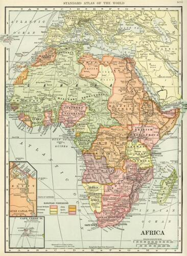"""Wall Decor Historical Map of Africa Vintage Art Poster 40x29/"""""""