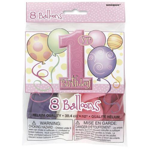première//Fille 1st Anniversaire Ballons Rose Parti objets 1 ans Vaisselle /& Décorations