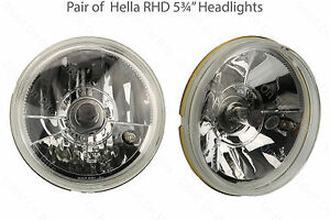 Paire-de-HELLA-5-3-4-034-RHD-12V-H4-tete-PHARES-CROISEMENT-principal-amp