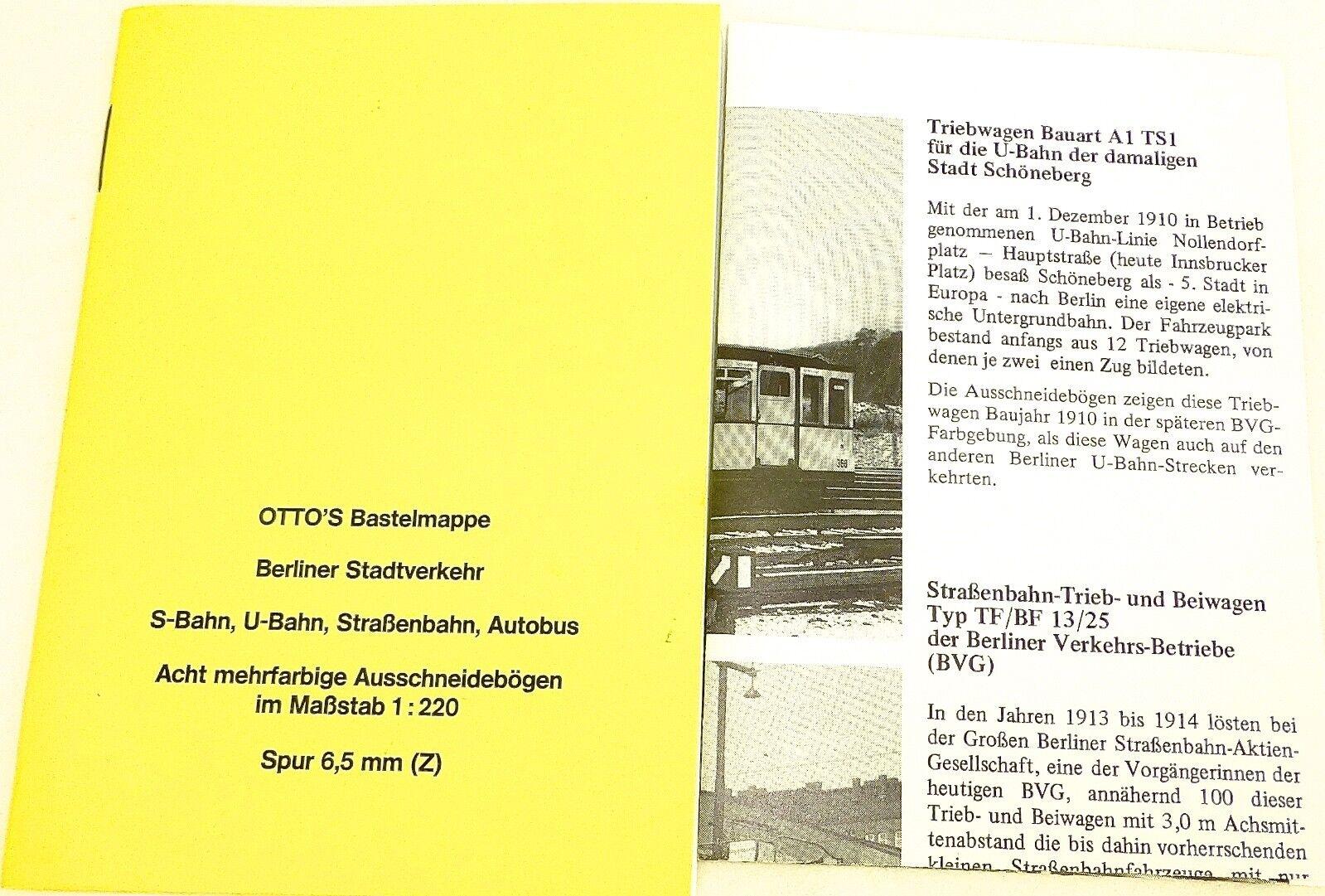 Otto's Bastelmappe Berliner Stadtverkehr S-Bahn U-Bahn Straba BUS Z 1 220 å    Zahlreiche In Vielfalt