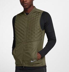Détails sur Men's Nike aeroloft Running Veste Sans Manches Gilet à 928501 395 taille XL vert olive toile afficher le titre d'origine