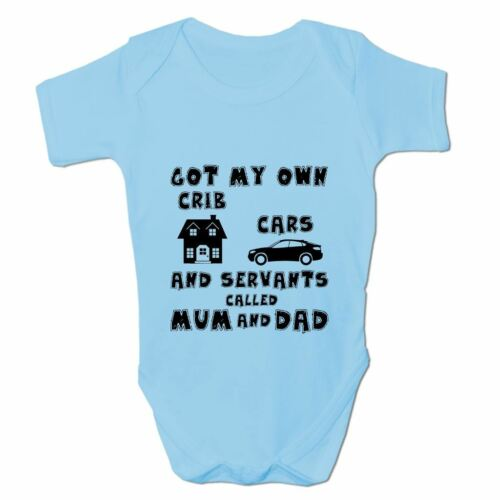 Baby Grow Clothes Novelty Gifts for Babies Boys Cribs Cars /& Servants