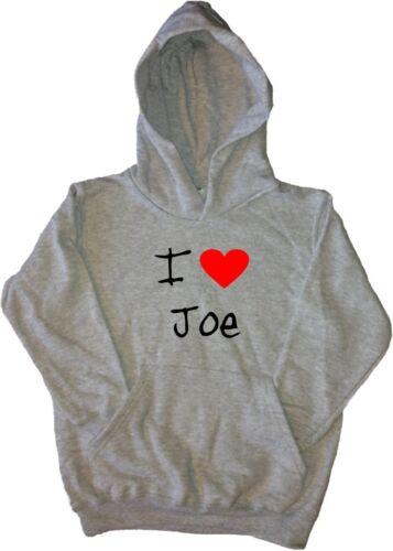 I Love Heart Joe Kids Hoodie Sweatshirt