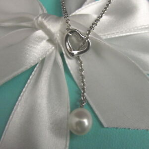d296cc299fc56 Details about TIFFANY & CO ~ ELSA PERETTI OPEN HEART PENDANT PEARL LARIAT  NECKLACE ~ POUCH BOX