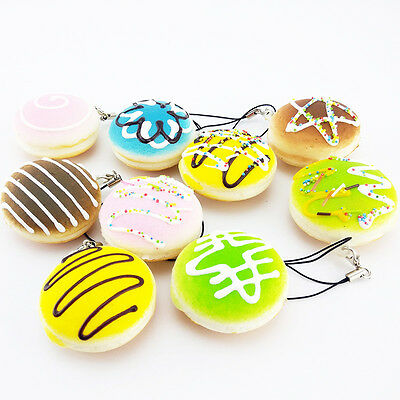 Kawaii Cute Fancy Macaron Squishy Cellphone Charms Straps Colorful Chain PA28