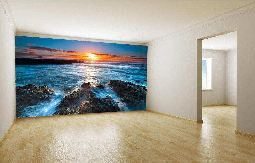 3D Sonne Felsen Meer 84 Tapete Wandgemälde Tapete Tapeten Bild Familie DE Summer
