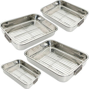 stainless steel roasting trays oven pan dish baking. Black Bedroom Furniture Sets. Home Design Ideas