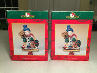In Box Lot Of 2 Kurt S Aldler Cast Metal Snowman Christmas Stocking Hangers
