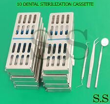 10 DENTAL STERILIZATION CASSETTE RACK BOX TRAY FOR 5 INSTRUMENT