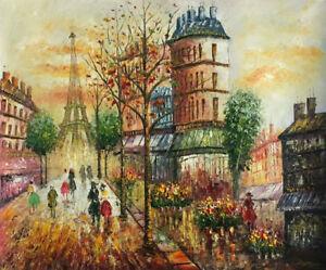 Canvas Modern Art wall Decor Paris Eiffel Tower Urban Street Print Oil Painting