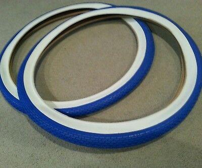 DURO 26X2.125 BEACH CRUISER BICYCLE TIRES BLUE /& WHITE WALL BRICK PATTERN 2 TWO