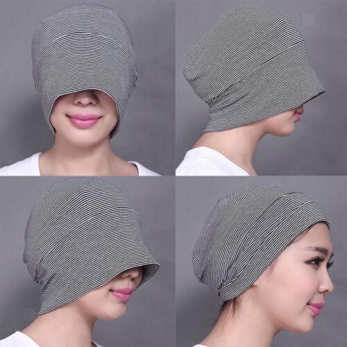 Unisex Women Mens Cotton Night Cap Sleeping Patch Sleep Striped Hat