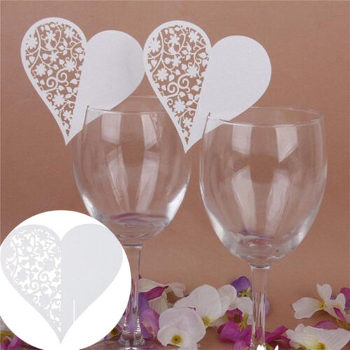 Chic 50Pcs Name Place Cards For Wedding Party Table Wine Glass  Decoration VQ