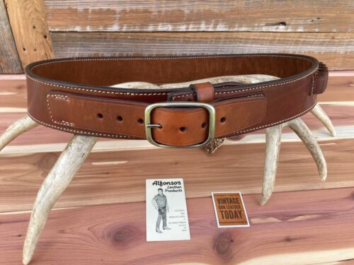 """Alfonso/'s 44 Suede Lined Plain Brown Leather Cartridge Gun Belt .44 .45 41/"""" 46/"""""""