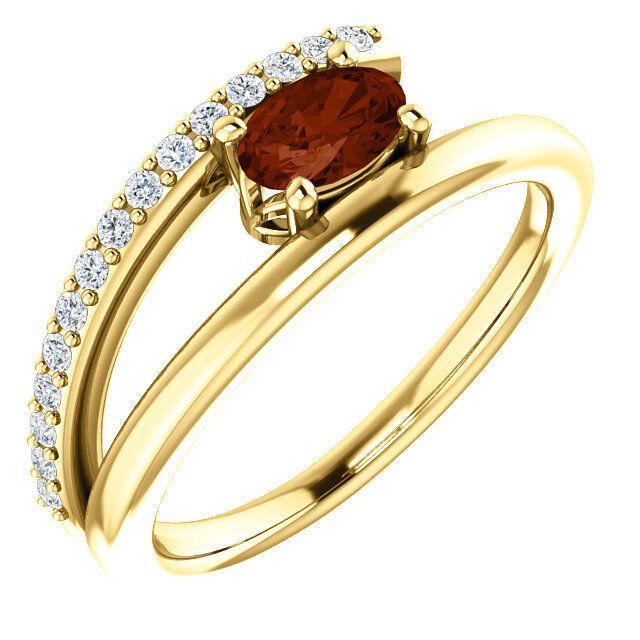 Garnet & 1 8 CTW Diamond Bypass Ring In 14K Yellow gold