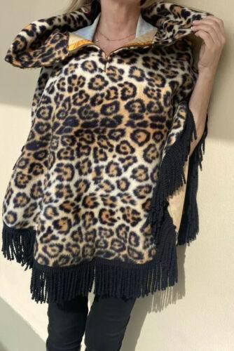 Vintage Poncho/Cape  Faux Fur Leopard Print  Fring