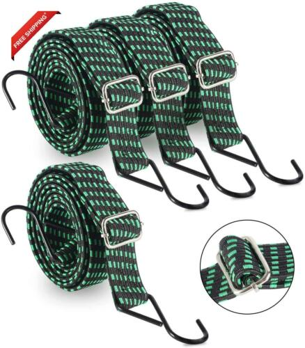 80 Inch Adjustable Flat Bungee Cords With Hooks 4-Pack Superior Latex Heavy Duty
