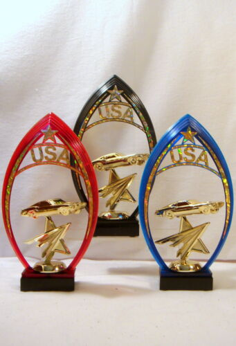 SET OF 3 CAR TROPHIES FORD MUSTANG CAR TROPHIES,CAR SHOW  USA ARCH