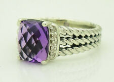 David Yurman Sterling Silver Wheaton Petite Diamond Amethyst Ring Size: 7.75