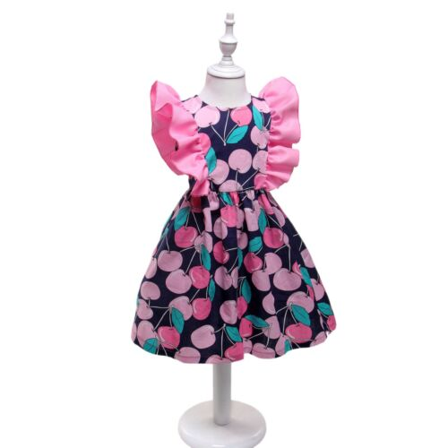 NEW Kid Girl Spring Summer Flowers Cherry Party Dress Navy Blue Pink Size 2-9 Z6