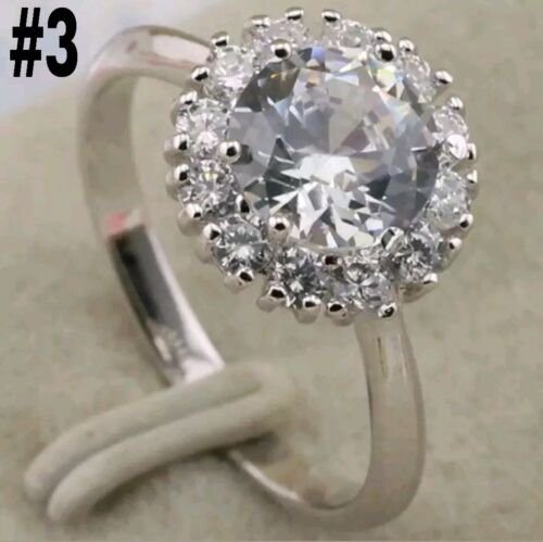 Size 6.5 White Gold Filled Ring Anillo Oro Blanco 18K Gold Filled