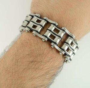 Men/'s Stainless Steel Double Link Black Yellow Bike Chain Bracelet USA Seller!