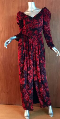 Long black/ red gown formal, long sleeve, Ruben Pa