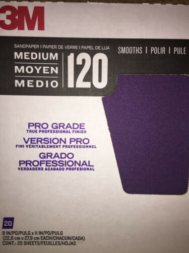 20 SHEETS 3M PRO GRADE ADVANCED SANDPAPER 120 GRIT NEW!!