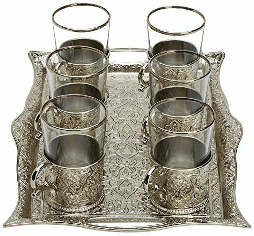 Glasses with Brass Holders Tray /& Spoons,Silver 6.6 Oz Turkish Tea Set for 6
