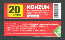 CROATIA  20 Kuna  2014  UNC   KONZUM - ZAGREB , Discount Coupon