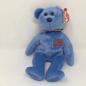 Ty Beanie Babies America Blue Bear Flag