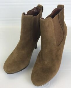 Jessica-Simpson-KERRA-Tan-Leather-Suede-Ankle-Boots-stretch-panel-8B-4-034-heels