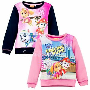PAW-PATROL-FILLES-SWEAT-PULL-HAUT-MANCHES-LONGUES-2-6-ans-Everest-Skye