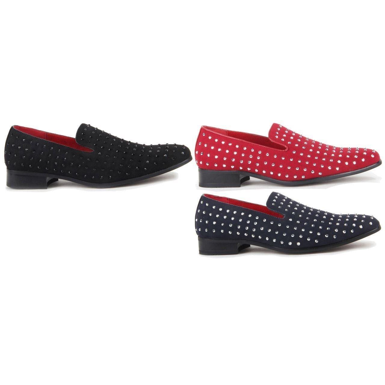 Men Italian Designer Faux Suede Slip On Studded shoes Leather Loafers (Baldoria
