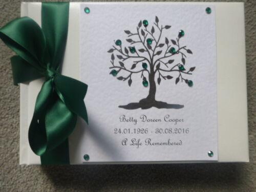 Personalised Book of Condolence Bereavement Funeral memorial tree of life boxed