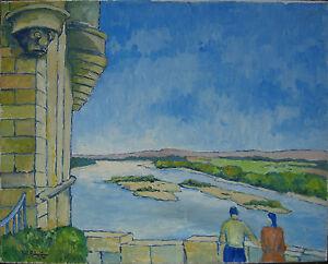 :: France France ° on the Loire Expressionist Signed Landscape Antique Shore